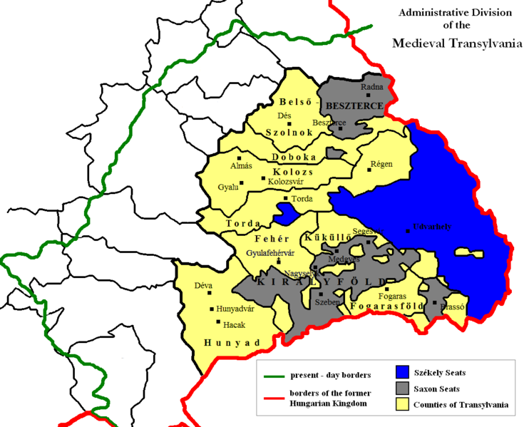 administrative division of medieval transylvania with szkely land in blue